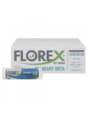 Florex 525 Standart Çöp Poşeti Orta Boy 55 x 60 cm 20 Adet x 50 Rulo - Siyah