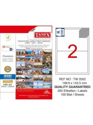 Tanex Laser Etiket TW-2002 199.6x143.5 mm