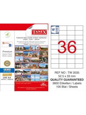Tanex Laser Etiket TW-2035 52,5 mm x 33 mm