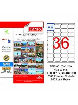Tanex Laser Etiket TW-2036 45x30 mm