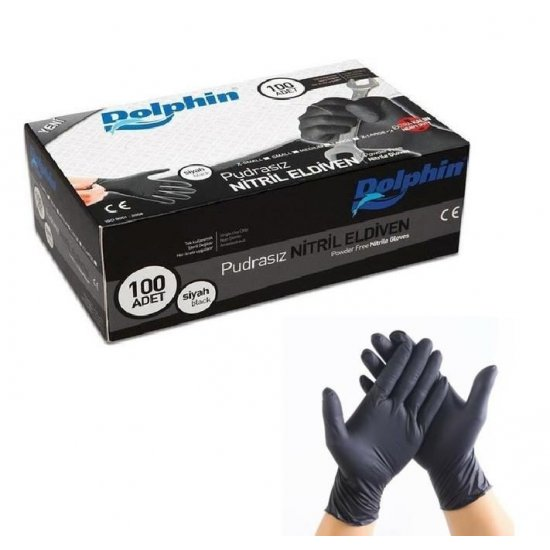 Dolphin Nitril Eldiven Pudrasız Siyah XL Beden 100'lü Paket