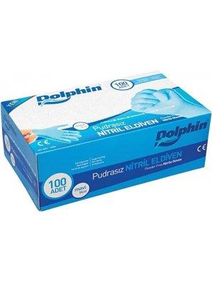 Dolphin Mavi Nitril Eldiven Pudrasız L Beden 100'lü Paket